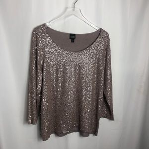 Eileen Fisher Sequin Silk Cotton Sweater size Large 0741